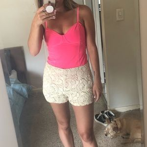Hot Pink top and white crochet shorts from UO